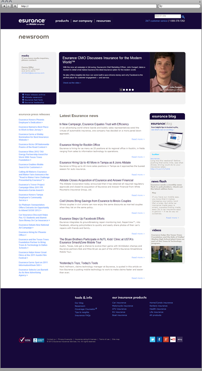 Site Newsroom Section Design